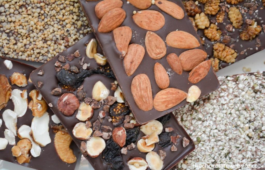 Rawmio Organic Vegan Chocolate Bars with Almonds, Puffed Cereal, Cashews, Hazelnuts, Figs, Hemp, Superfoods, Mushrooms