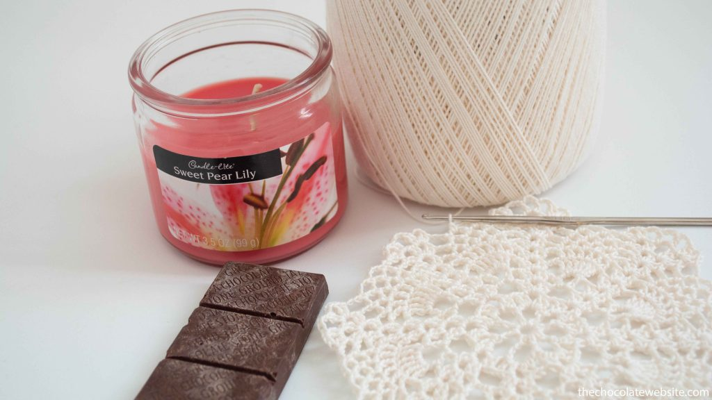 Something Witty Goes Here Photo - Taza Chocolate with Crocheted Doily & Candle